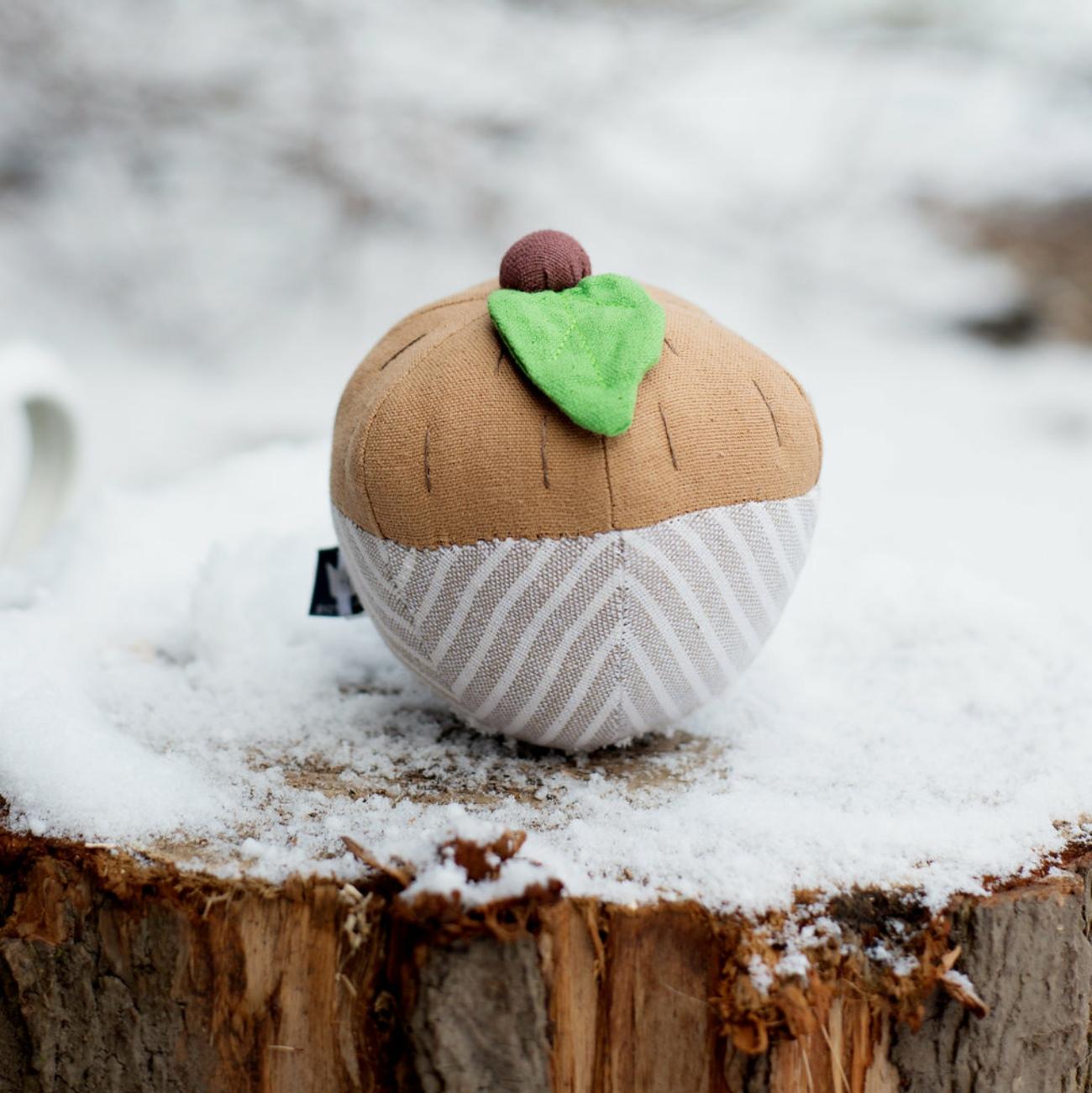 fair trade acorn rattle toy